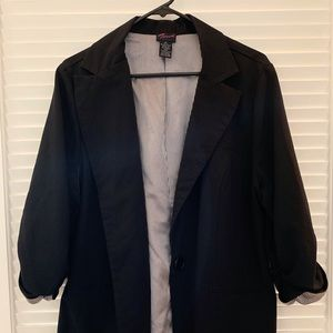 Blazer w Ruched 3/4-Sleeves, Pinstripe Lining, 2X